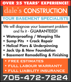 Print Ad of Dale's Construction